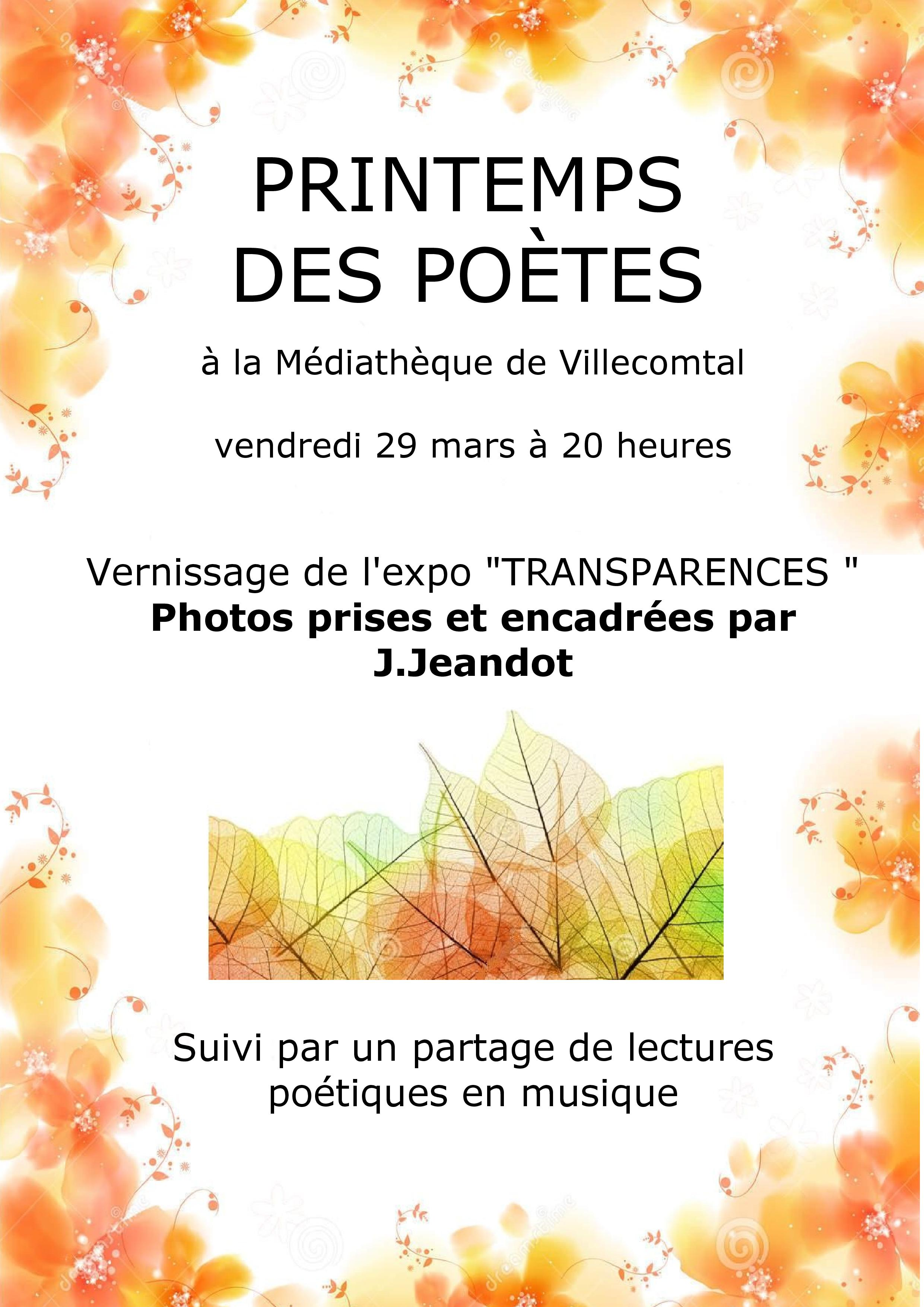 "Printemps des poètes - Vernissage de l'expo ""transparences"""