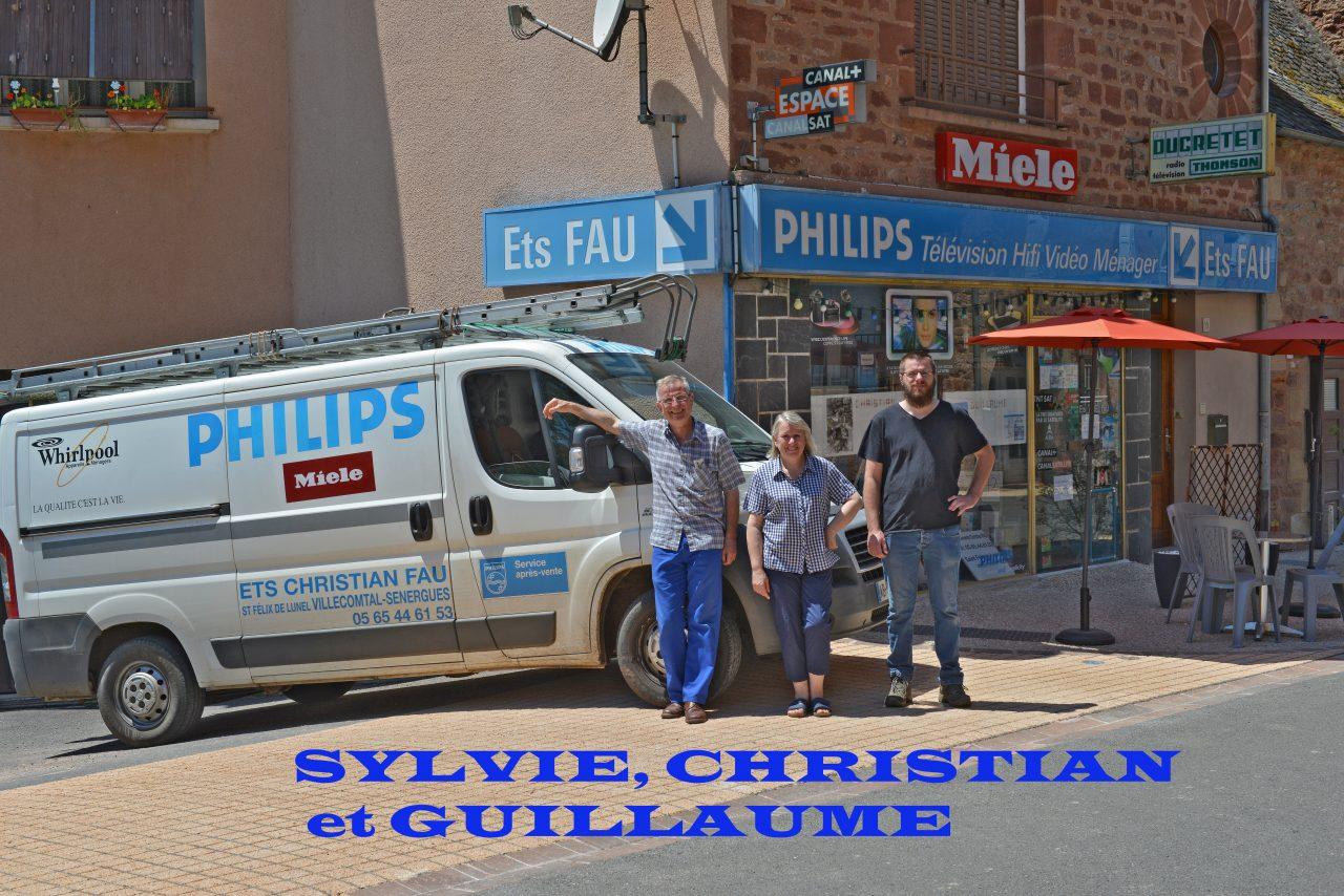 Sylvie, Christian et Guillaume Fau, électricité télévision électro-ménager (ventes et dépannages)